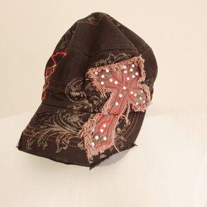 KBETHOS Cadet Hat Cross Distressed Design Brown